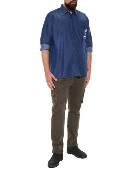 Blocco 38 taglie forti uomo Camicia jeans manica lunga 38.643