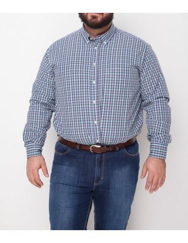 Profilo Moda Camicia scozzese manica lunga Bogotà taglie forti uomo